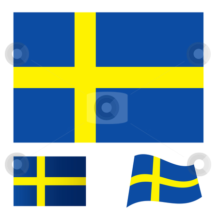 Sweden flag set stock vector clipart, Illustrated collection of flag icon set for sweden by Michael Travers