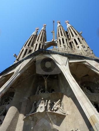 Sagrada familia church, Barcelona, Spain stock photo, View of the facade of the Sagrada familia church, Barcelona, Spain by Elenarts