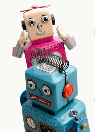 Robots stock photo, Two retro robot toys on white by Charles Taylor