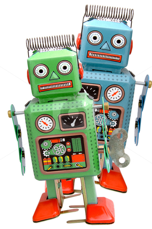 Toys stock photo, Two retro robot roys by Charles Taylor