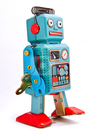 Toys stock photo, retro robot toys on white by Charles Taylor
