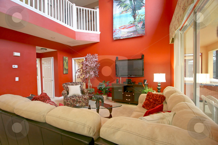 Living Room stock photo, An Interior Living Room of a Home by Lucy Clark