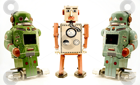 Toys stock photo, Three retro robot toys by Charles Taylor