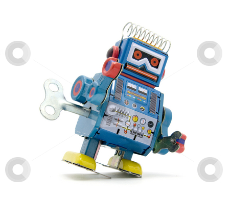 Toy stock photo, old robot toy n white by Charles Taylor