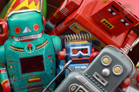 Robot toys  stock photo, old robot toys by Charles Taylor