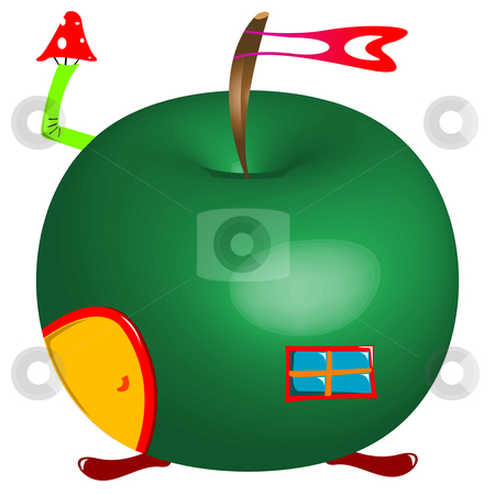 Apple house stock vector clipart, Apple house against white background, abstract vector art illustration by Laschon Robert Paul