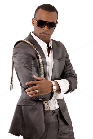 Stylish business man with his hands folded stock photo, Stylish business man with his hands folded on a isolated white background by Get4net