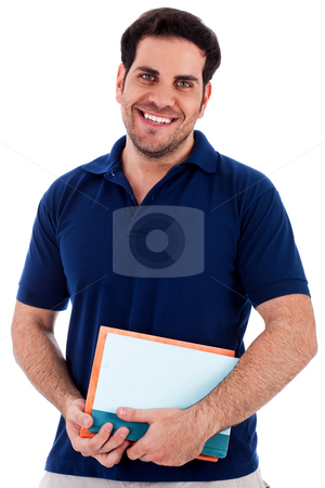 Young man holding notepad stock photo, Front view of young man holding notepad standing against white isolated background by Get4net
