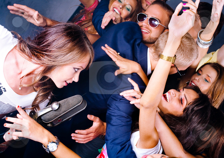 Adoring fans see singer performer stock photo, Adoring fans see singer performer at night club by Get4net