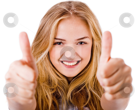 Closeup of women showing thumbs up in both hands stock photo, Closeup of women showing thumbs up in both hands on a isolated white background by Get4net