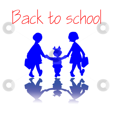 Back to school girls stock vector clipart, Girls going back to school, vector art illustration. easy to modify colors or text. by Laschon Robert Paul