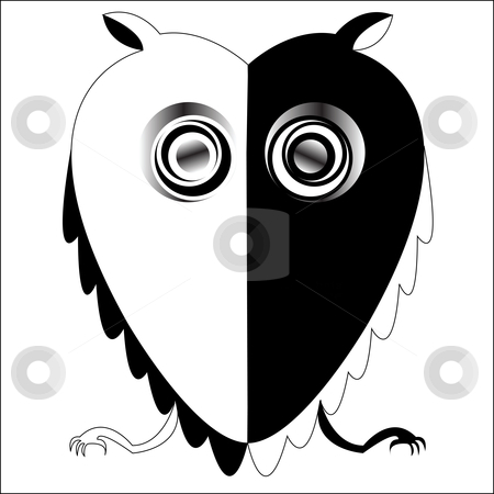 Black and white owl, vector art illustration; more drawings in my gallery