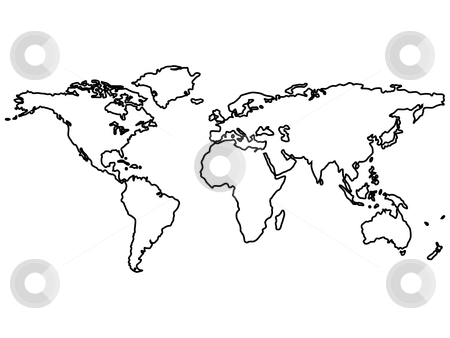 Black Outline World Map