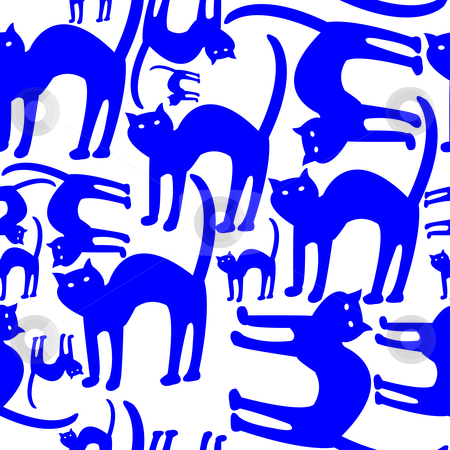 Blue cats pattern isolated on white background stock vector clipart, Blue cats pattern isolated on white, vector art illustration by Laschon Robert Paul