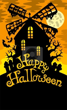 Mill with Happy Halloween sign 2 stock vector clipart, Mill with Happy Halloween sign 2 - vector illustration. by Klara Viskova