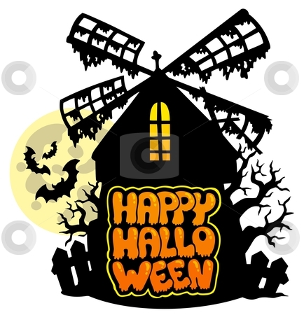 Mill with Happy Halloween sign 1 stock vector clipart, Mill with Happy Halloween sign 1 - vector illustration. by Klara Viskova