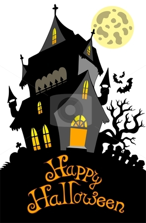 Happy Halloween sign with mansion stock vector clipart, Happy Halloween sign with mansion - vector illustration. by Klara Viskova