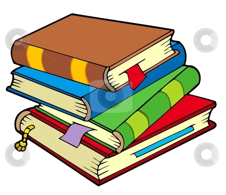 Pile of four old books stock vector clipart, Pile of four old books - vector illustration. by Klara Viskova