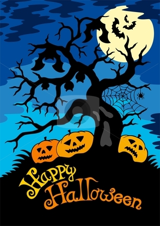 Happy Halloween theme with tree stock vector clipart, Happy Halloween theme with tree - vector illustration. by Klara Viskova