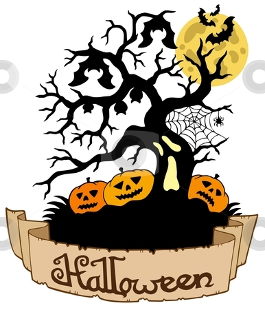 Tree silhouette with Halloween banner stock vector clipart, Tree silhouette with Halloween banner - vector illustration. by Klara Viskova