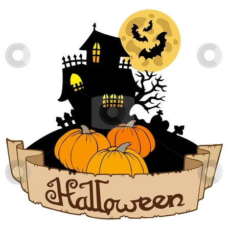 Haunted house with Halloween banner stock vector clipart, Haunted house with Halloween banner - vector illustration. by Klara Viskova