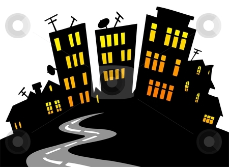 city skyline cartoon. Cartoon city skyline - vector