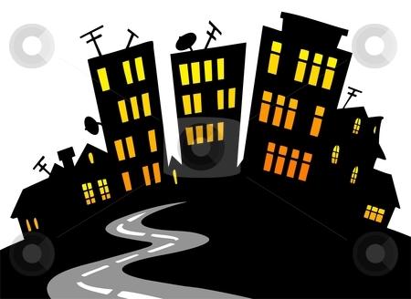 city skyline cartoon. Cartoon city skyline - vector