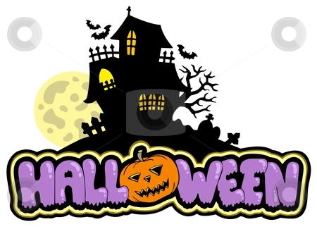 Halloween sign with haunted house stock vector clipart, Halloween sign with haunted house - vector illustration. by Klara Viskova