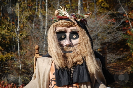 The Corn King - Head Shot stock photo, A head shot of the Corn King at a Pagan Harvest Festival by Patricia Cartwright