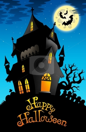 Happy Halloween sign with old house stock photo, Happy Halloween sign with old house - color illustration. by Klara Viskova