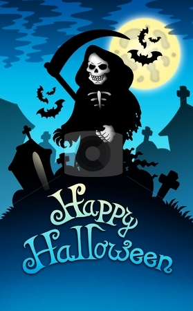 Halloween image with grim reaper stock photo, Halloween image with grim reaper - color illustration. by Klara Viskova