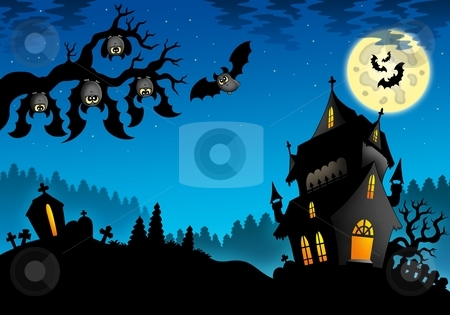 Halloween landscape with mansion stock photo, Halloween landscape with mansion - color illustration. by Klara Viskova