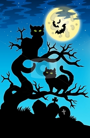 Two cats silhouette with full moon stock photo, Two cats silhouette with full moon - color illustration. by Klara Viskova