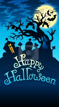 Happy Halloween sign with tree stock photo, Happy Halloween sign with tree - color illustration. by Klara Viskova