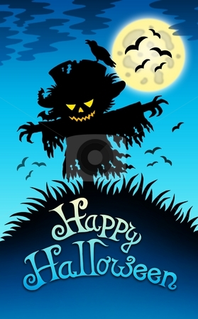 Halloween image with scarecrow stock photo, Halloween image with scarecrow - color illustration. by Klara Viskova