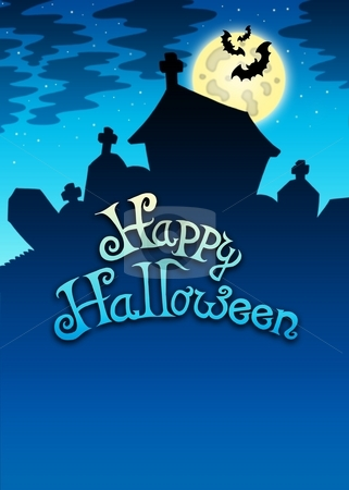 Happy Halloween sign with cemetery stock photo, Happy Halloween sign with cemetery - color illustration. by Klara Viskova