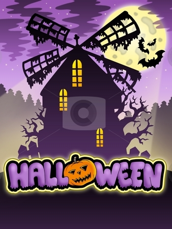 Mysterious Halloween mill 2 stock photo, Mysterious Halloween mill 2 - color illustration. by Klara Viskova