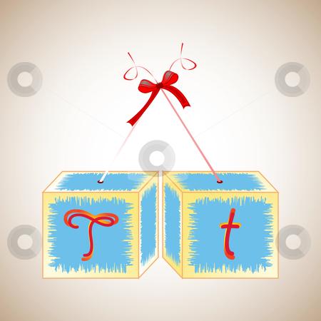 Cubes alphabet T stock vector clipart, Cubes alphabet T, abstract art illustration by Laschon Robert Paul