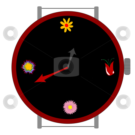 Clock with flowers stock vector clipart, Clock with flowers, vector art illustration; more drawings in my gallery by Laschon Robert Paul