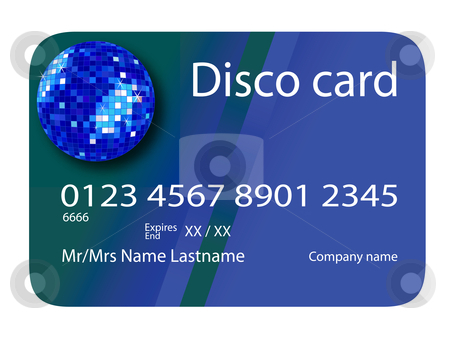 Credit card disco blue stock vector clipart, Credit card disco blue, vector art illustration; more credit cards in my gallery by Laschon Robert Paul