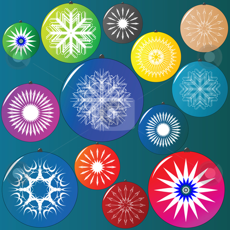 Christmas globes collection stock vector clipart, Christmas globes collection, vector art illustration by Laschon Robert Paul