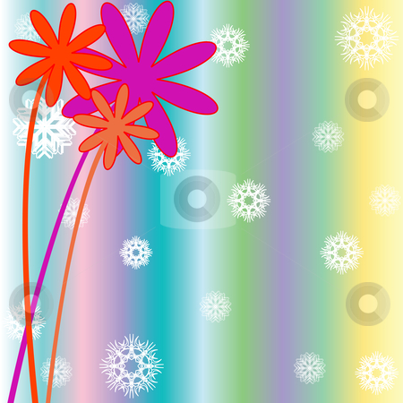 Christmas background with snow flakes, flowers and stripes stock vector clipart, Christmas background with snow flakes, flowers and stripes, vector art illustration by Laschon Robert Paul