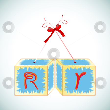 Cubes alphabet R stock vector clipart, Cubes alphabet R, abstract art illustration by Laschon Robert Paul