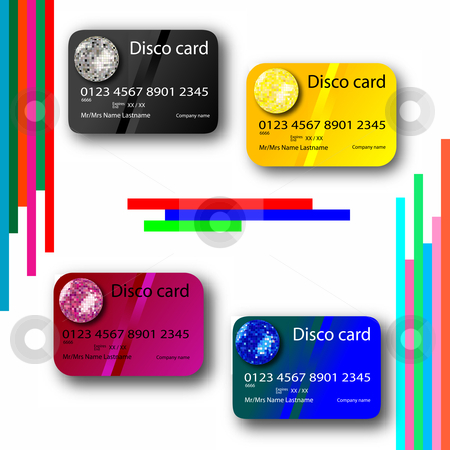 Credit card disco collection stock vector clipart, Credit card disco collection, abstract art illustration by Laschon Robert Paul