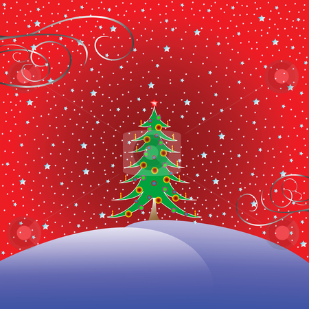 Christmas tree with stars background stock vector clipart, Christmas tree with stars background, vector art illustration by Laschon Robert Paul