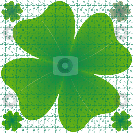 Clover puzzle stock vector clipart, Clover puzzle, abstract art illustration by Laschon Robert Paul