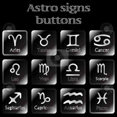 Dark astro sign buttons stock vector clipart, Dark astro sign buttons, abstract vector art illustration by Laschon Robert Paul