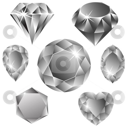 Diamonds collection stock vector clipart, Diamonds collection against white background, abstract vector art illustration by Laschon Robert Paul