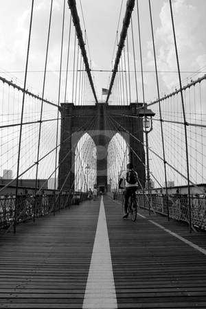 Brooklyn Bridge stock photo, The famous and historic Brooklyn Bridge located in New York City. by Todd Arena