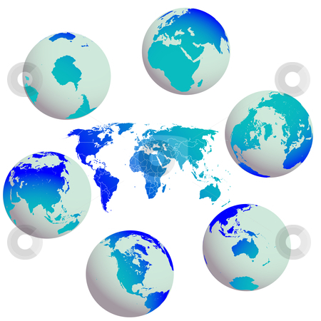 Earth globes and world map against white